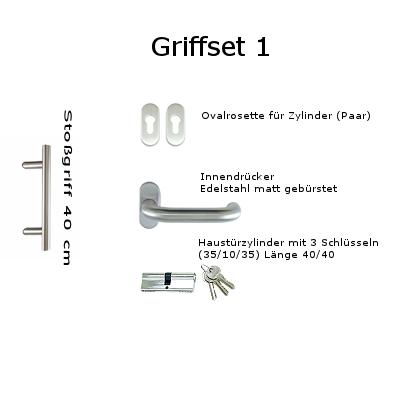 Griffset 1 Edelstahl matt gebürstet inkluive Stoßgriff 40 cm Innendrücker, Rosetten und Zylinder