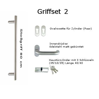 Griffset 2 Edelstahl matt gebürstet inkluive Stoßgriff 80 cm Innendrücker, Rosetten und Zylinder