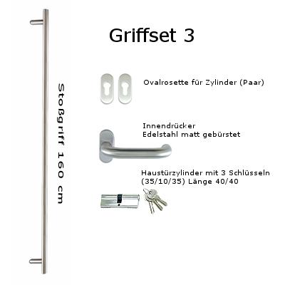 Griffset 3 Edelstahl matt gebürstet inkluive Stoßgriff 160 cm Innendrücker, Rosetten und Zylinder