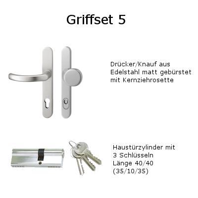 Griffset 5 Drückergarnitur Drücker/Knauf Langschild Edelstahl mit Kernziehrosette inklusive Befestigungsmaterial