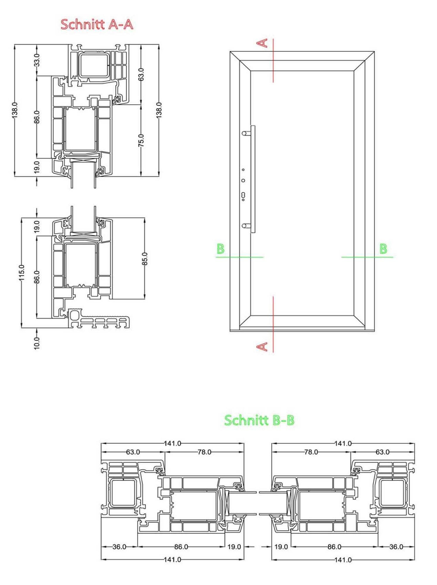 Profildetails der Serie K600P Haustüren